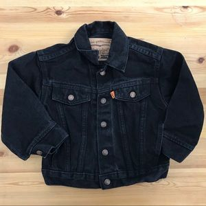 Levi's Black Denim Trucker Jacket Orange Tab 3T B0